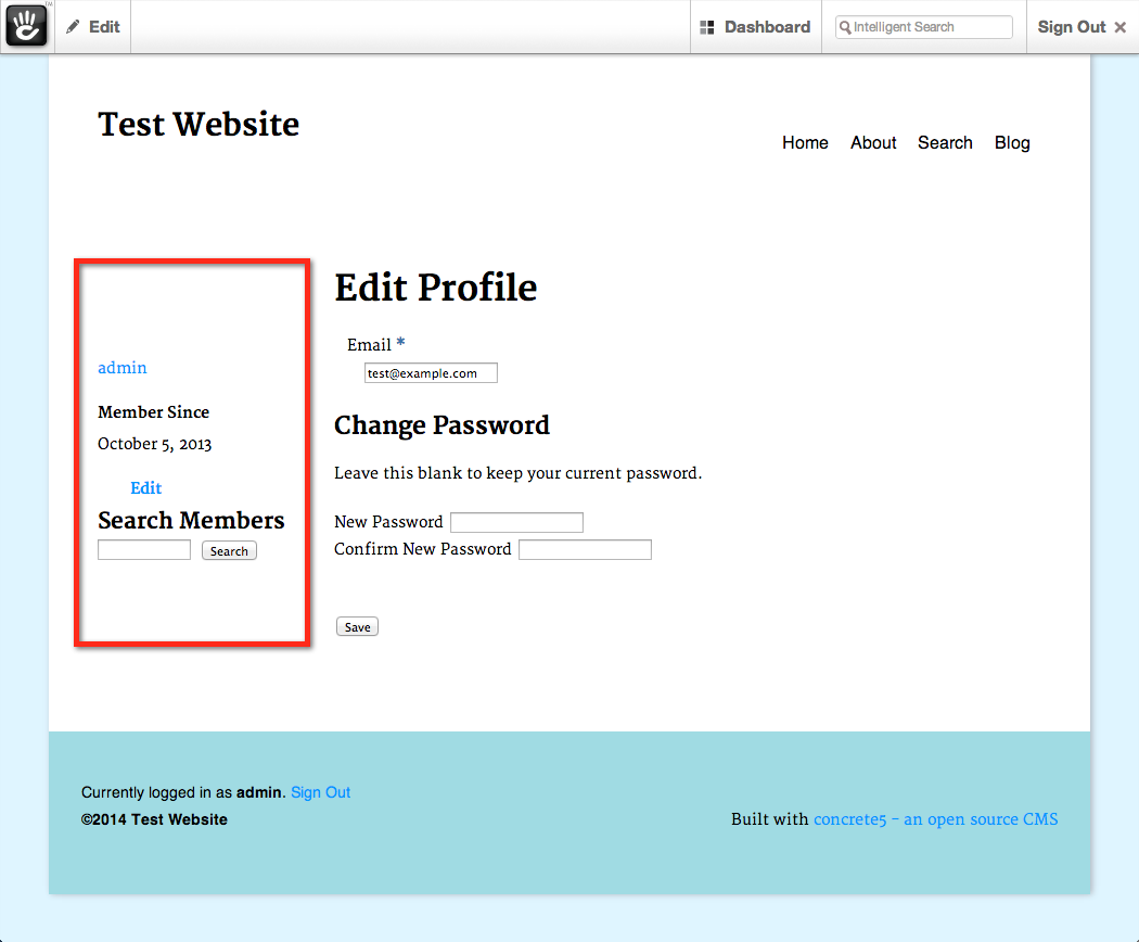 screenshot of sidebar in the Edit Profile page