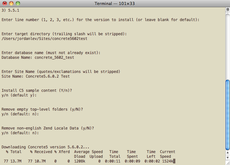 screenshot of Terminal output