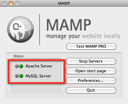 screenshot of MAMP window