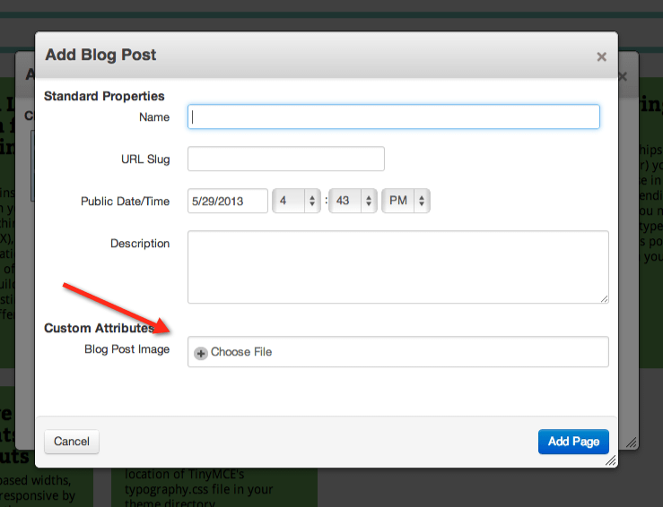 screenshot of 'Add New Page' dialog, showing the Blog Post Image attribute