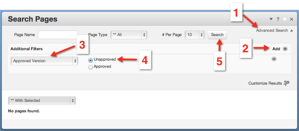 "screenshot of ""Page Search"" dashboard page with annotations on where to click to make an ""unapproved pages"" search"