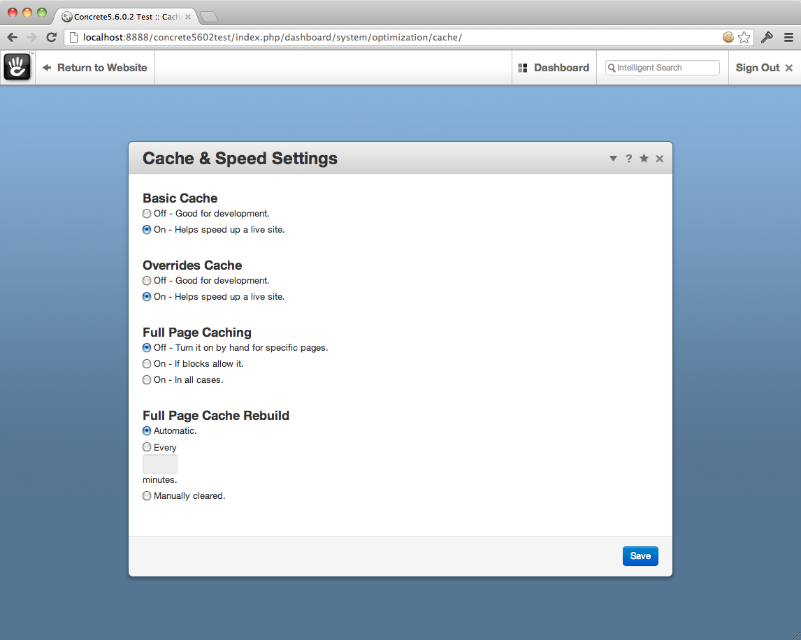 screenshot of Concrete5 Dashboard (Cache & Speed Settings page)