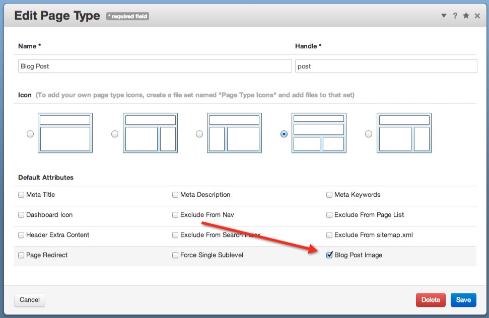 screenshot of 'Page Type Settings' dashboard page