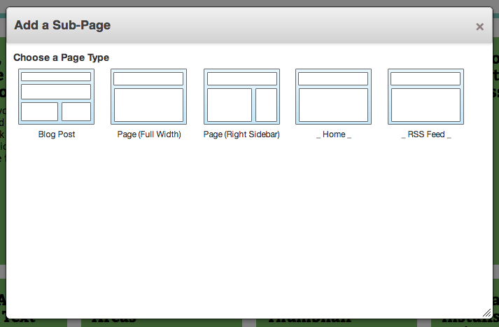 "screenshot of ""Add New Page"" dialog (with custom sorting)"